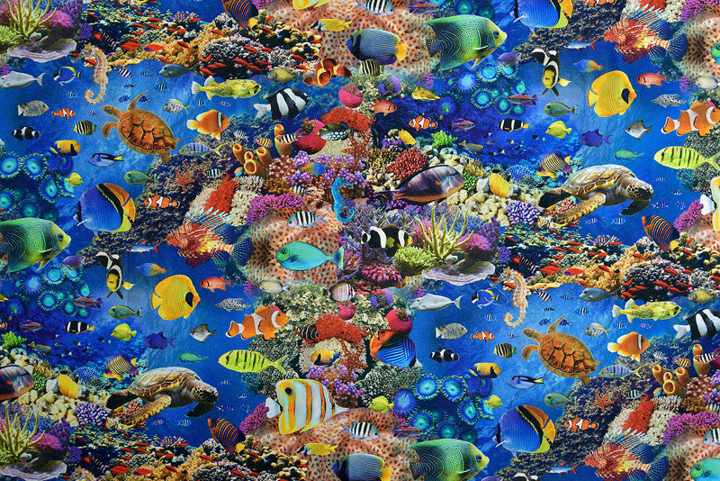 Tropical fish and underwater coral reef fabric