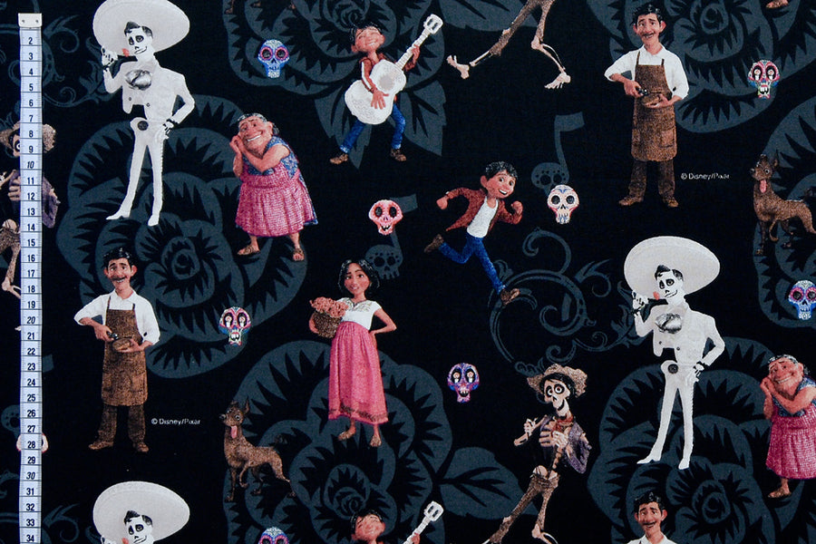 Disney Coco Fabric - Miguel and Family on a Black Background