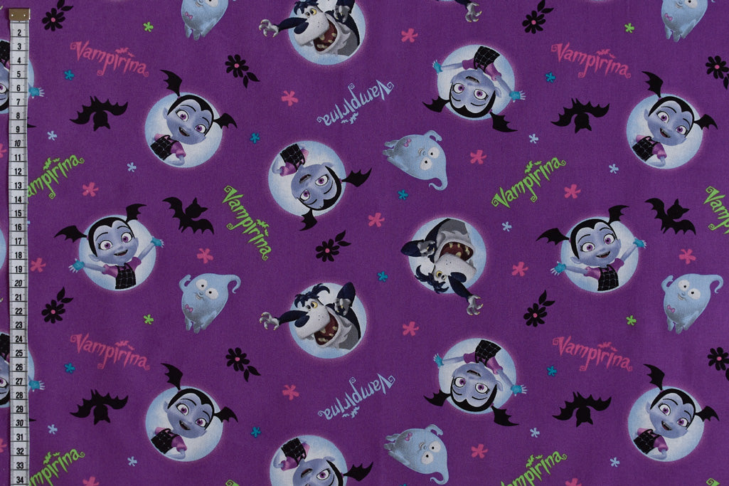 Disney Vampirina & Friends Fabric - Purple Background