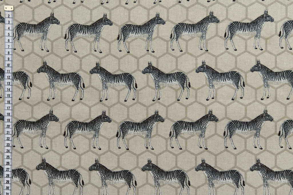 Zebra Printed Fabric on a Background of Hexagons - Beige Background