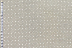 Small White Spots on Beige Background - Linen Look Fabric