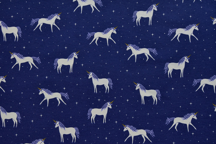 White and Blue Unicorn Fabric - Printed on a Starry Blue Background