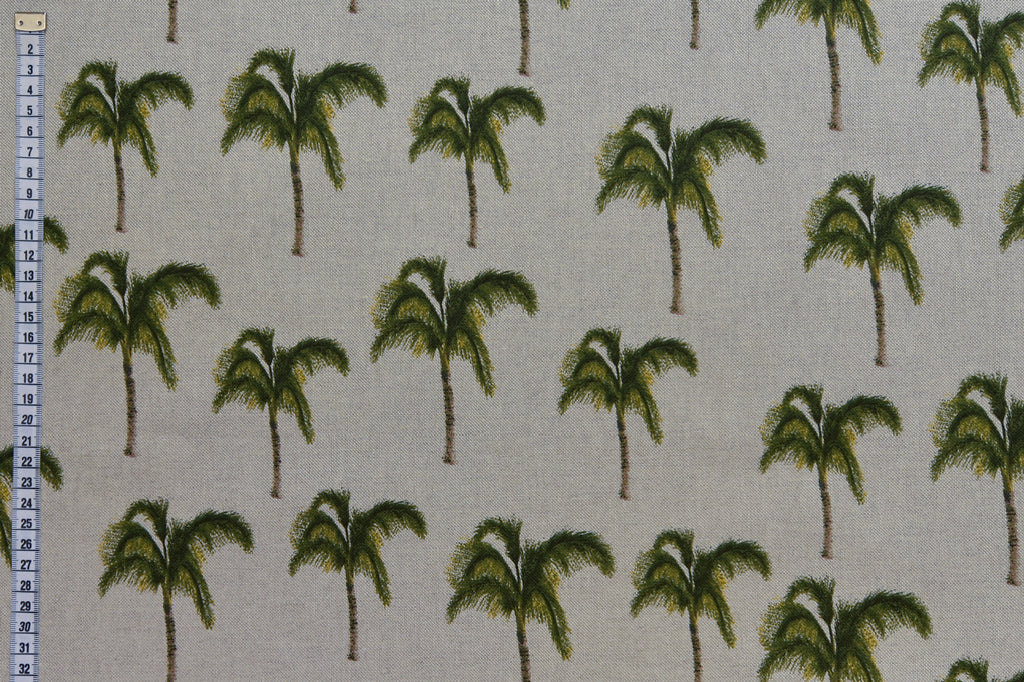 Palm Tree Fabric - Green Leaf Palm Trees on a Beige Linen Look Fabric
