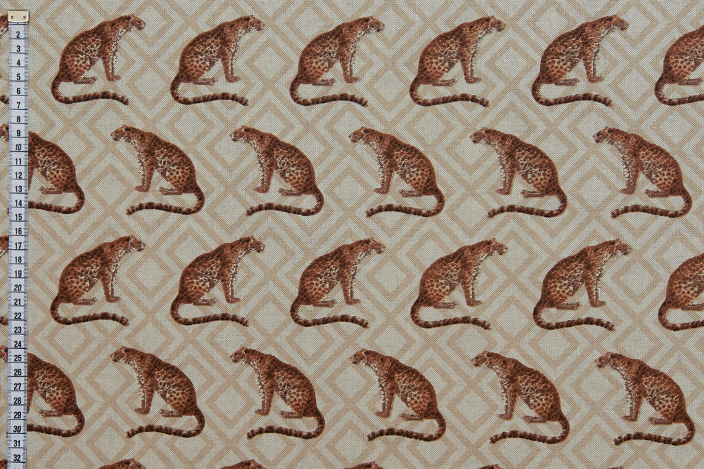Leopards Printed on Natural Looking Fabric