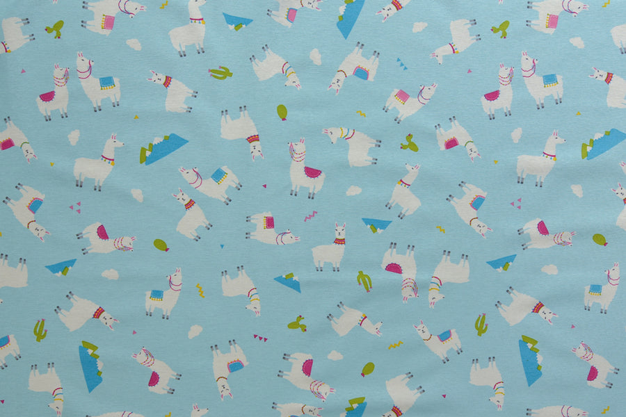 Llama Fabric - Colourful Llamas on a Blue Background