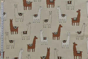Llama Fabric - Cute Llamas on a Beige Background