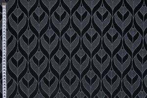 Graphic Leaves Fabric - Woven Jaquard Fabric, Black & Grey