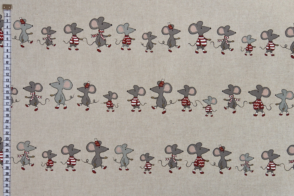 Winter Mice Christmas Fabric - Beige Background, Linen Look Fabric