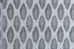 Silver Fern Fabric - Black Fern Leaves on a Silver White Background