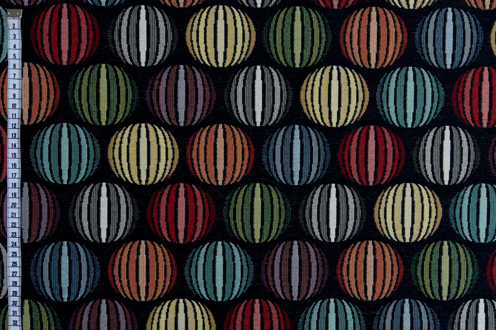 Geometric Sphere Design Fabric - Black Background. Heavy Woven Fabric