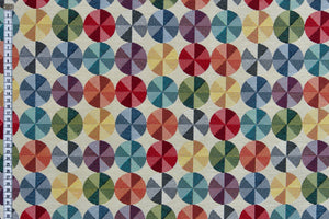 Geometric Multicoloured Discs Fabric - Cream Background. Heavy Woven Upholstery Fabric