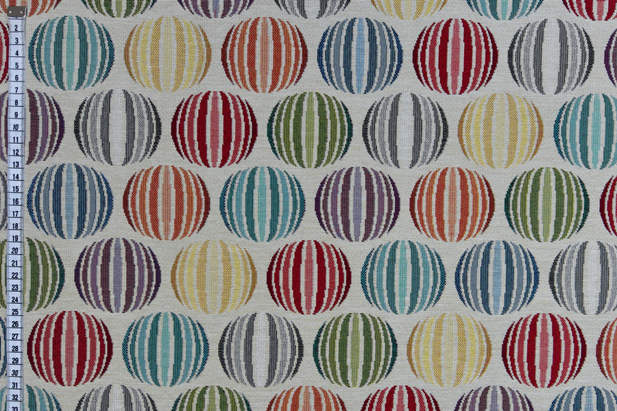 Geometric Sphere Design Fabric - Cream Background. Heavy Woven Upholstery Fabric