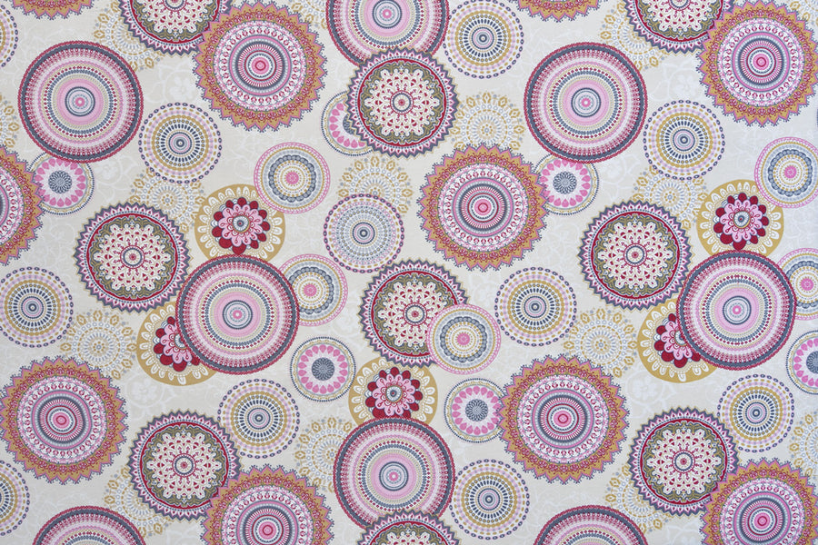 Colourful Mandala Flowers Fabric - Cream Background