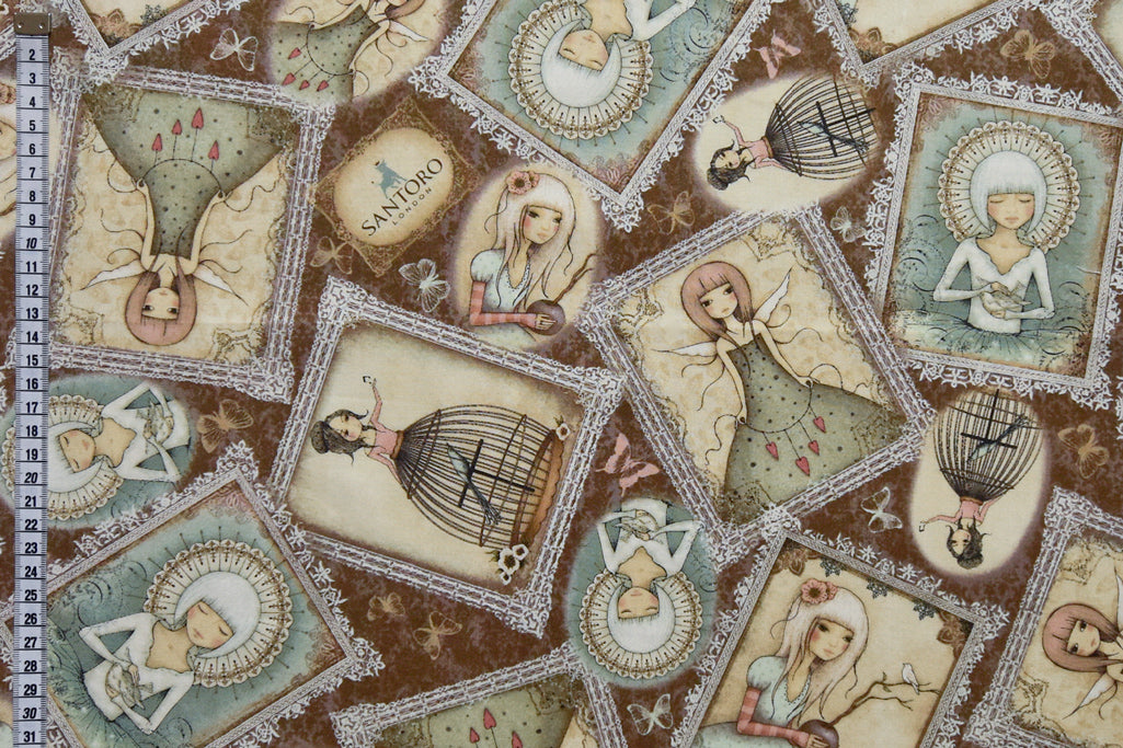 Mirabelle Fabric- Lost Song Portraits. Brown Background, 100% Cotton