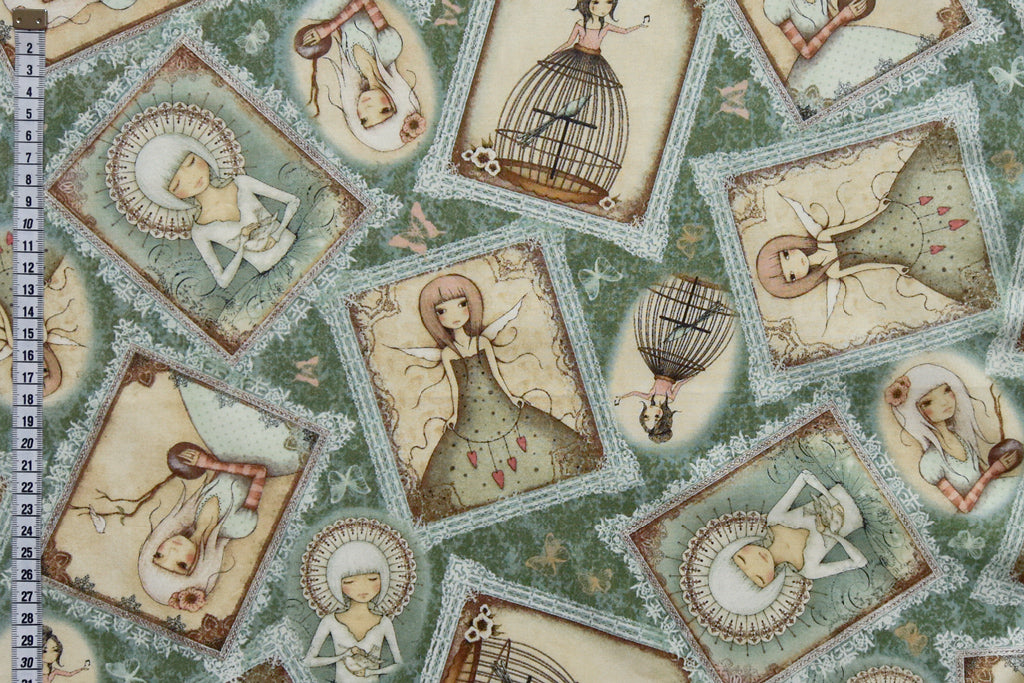 Mirabelle Fabric- Lost Song Portraits. Green Background, 100% Cotton
