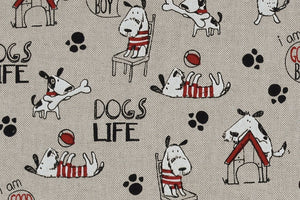 Dogs Life Fabric - Fun Dogs on Beige Background
