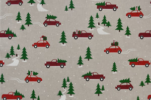 Christmas Cars Fabric - Red Cars with Christmas Trees on the Roof. Fun Holiday Fabric