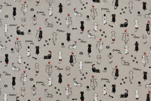 Love Cats Fabric - Cats in Love on a Beige Background