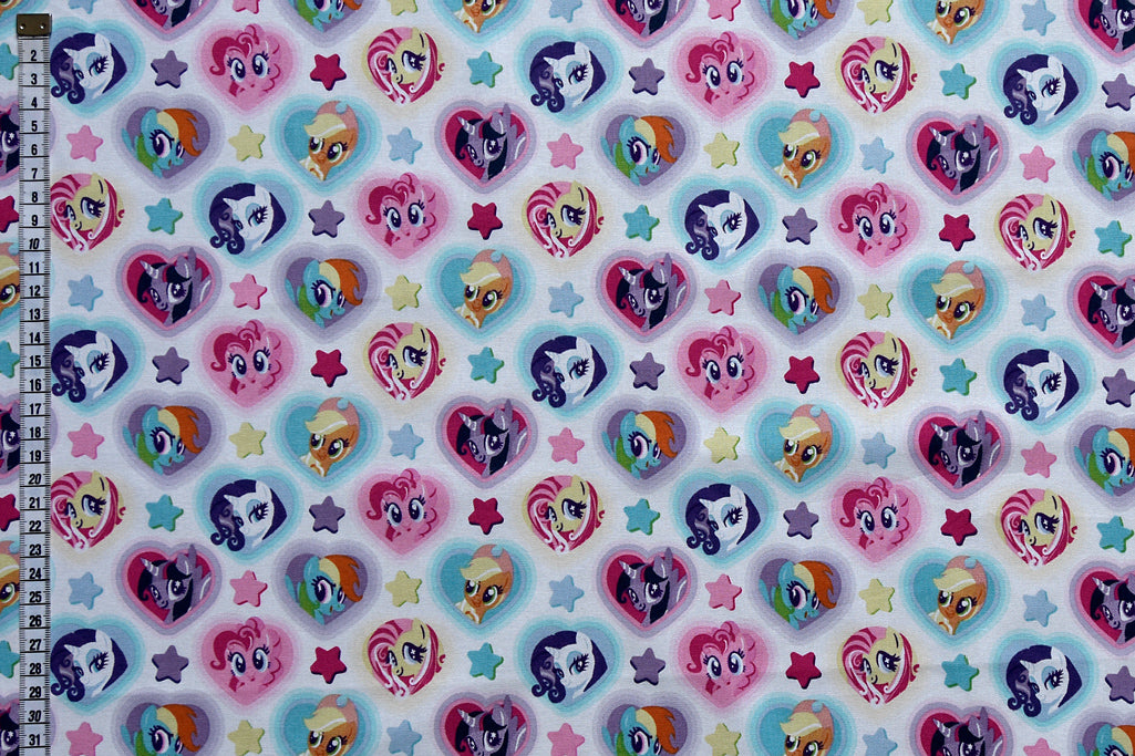 My Little Pony - Hearts. Ponies in Hearts with Colourful Stars. White Background