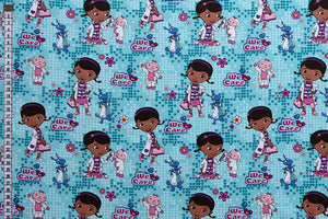 Disney Doc McStuffins Fabric - With Stuffy & Lambie. Blue.