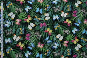 Tropical Butterfly Fabric - Vibrant Butterflies amongst Palm Leaves