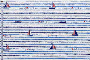 I Love Sailing Fabric - Sailing boats and Speed boats