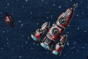 Children's Spaceship & Rocket Fabric - In Blue and Red