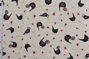 Classy Country Chicken Fabric - Black and Red on a Beige Background