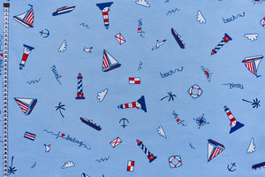 Nautical Fabric - Sailing, Holiday Theme with Blue Background