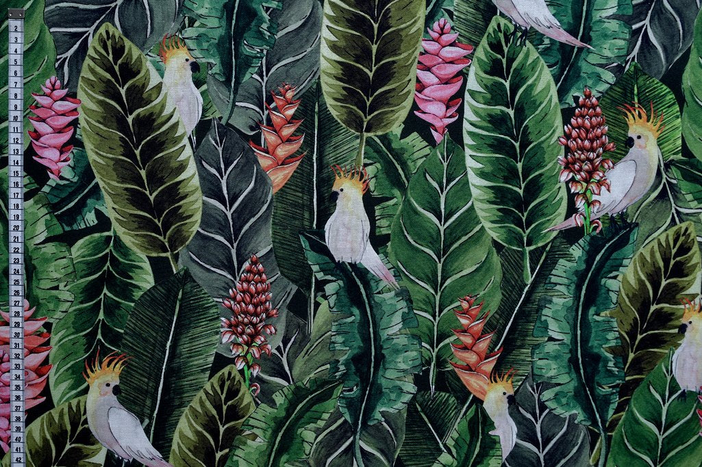 Parrot Paradise Fabric - Cockatoo Botanical Design.