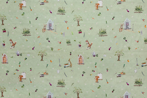 Mister Rabbit and Friends - Daisy Life Fabric. Pale Green Background