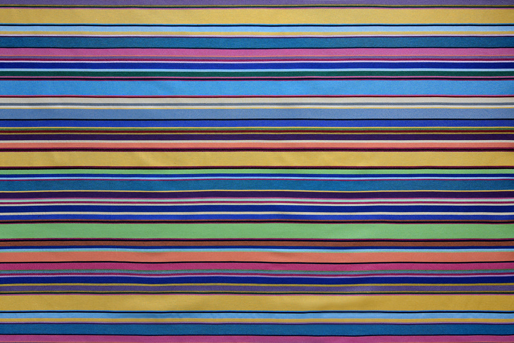 Pop Art Multicoloured Stripe Fabric - Heavy Woven Colourful Design