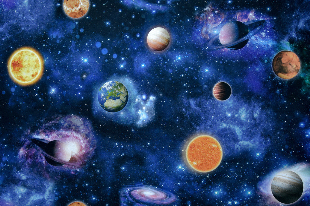 Space Universe Fabric - Planets, Earth and Stars on a Dark Blue Background