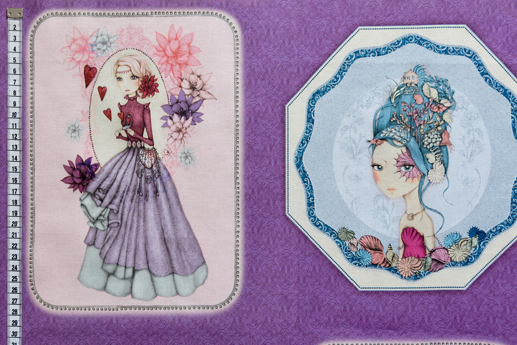 Gorgeous Mirabelle Midnight Garden Fabric Panel. Purple Background by Santoro London