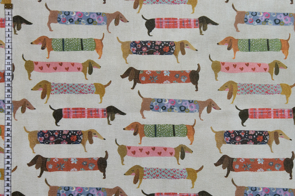 Funky Dachshund Fabric - Colourful Sausage Dogs on a Cream Background