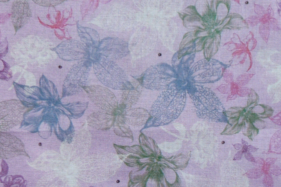 Mirabelle Pastel Flowers Fabric - Blue & Purples. From the Midnight Garden Collection by Santoro