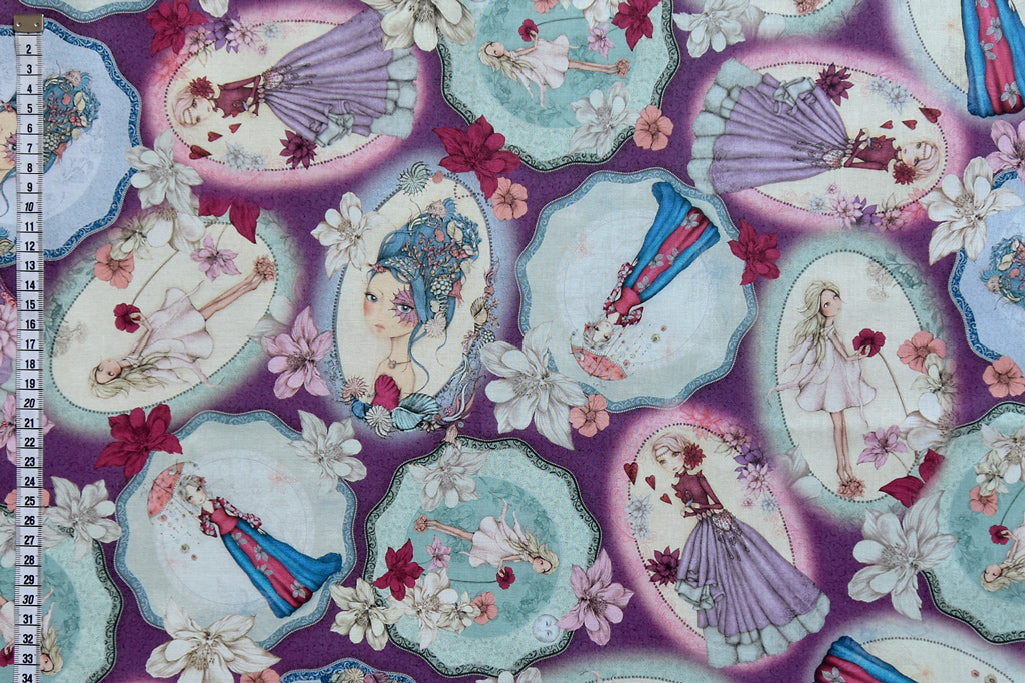 Mirabelle Fabric - Midnight Garden, Purple, Mirabelle surrounded by flowers. By Santoro London