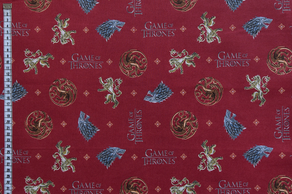 Game of Thrones Fabric - You Win or You Die. Coat of Arms on Red Background