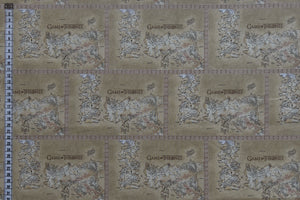 Game of Thrones Fabric - Map of Westeros. Cream Background