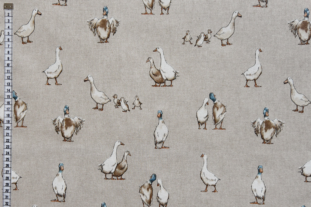 Country Ducks Fabric, with Ducklings. Linen Look Fabric, Beige Background