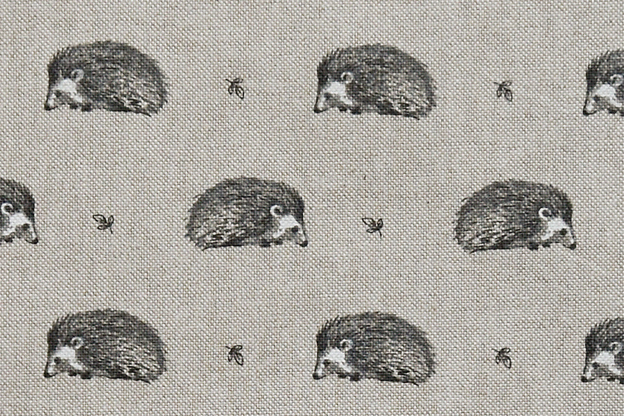Cute Hedgehog Fabric - Grey Hedgehogs on a Beige Background