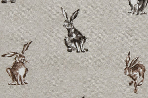 Country Hares Fabric - Beige Background, Linen Look Fabric