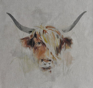 Highland Cow - Cushion Panel. Make your own cushion cover.  Beige Background.