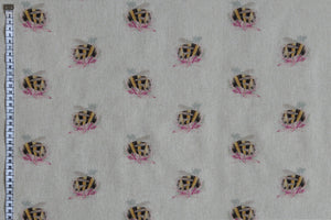 The Humble Bee Fabric - Bumblebees on Flowers. Linen Look, Beige Background Fabric.