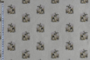 Country Rabbits Fabric - Linen Look. Beige Background.