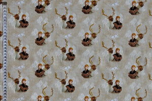 Disney Frozen Fabric - Sven and Kristoff. Pale Brown Background with Silhouetted White Trees. 100% Cotton by Camelot.