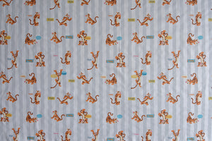 Disney Tigger Fabric - Winne the Pooh. Grey and White Background. 100% Cotton.
