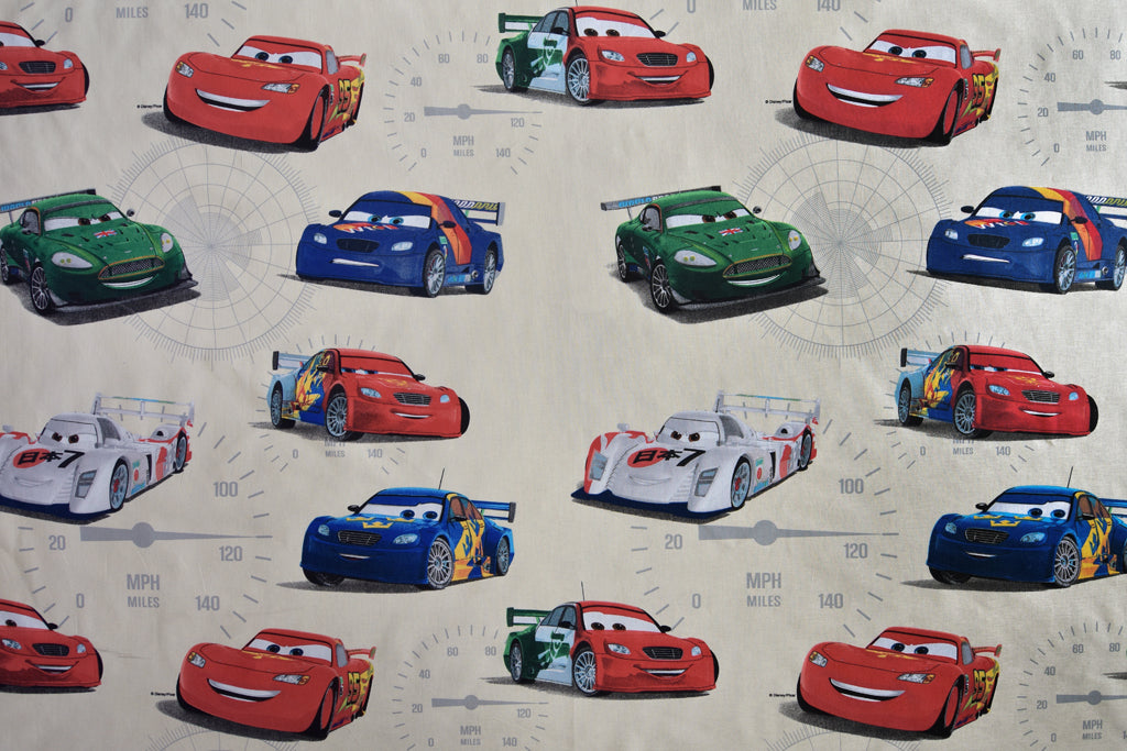 Disney Pixar Cars Fabric - Cream Background. Large Design. 100% Cotton.