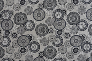 Black Mandala Fabric on a Light Beige Background. Linen Look Fabric.