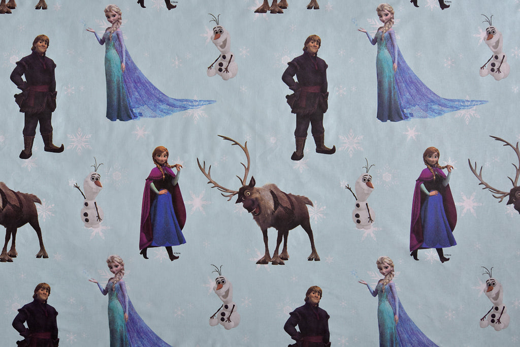 Disney Frozen Fabric - Turquoise. Large Design, 100% Cotton